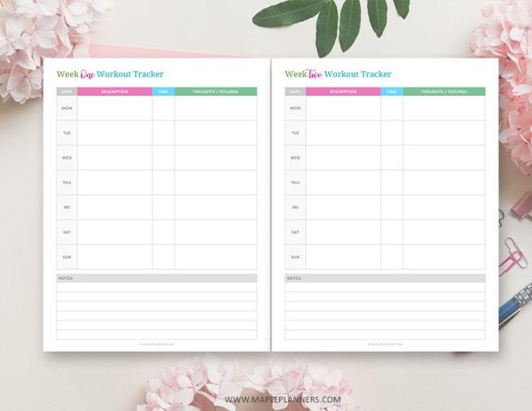 Workout Calendar and Measurement Tracker Printable
