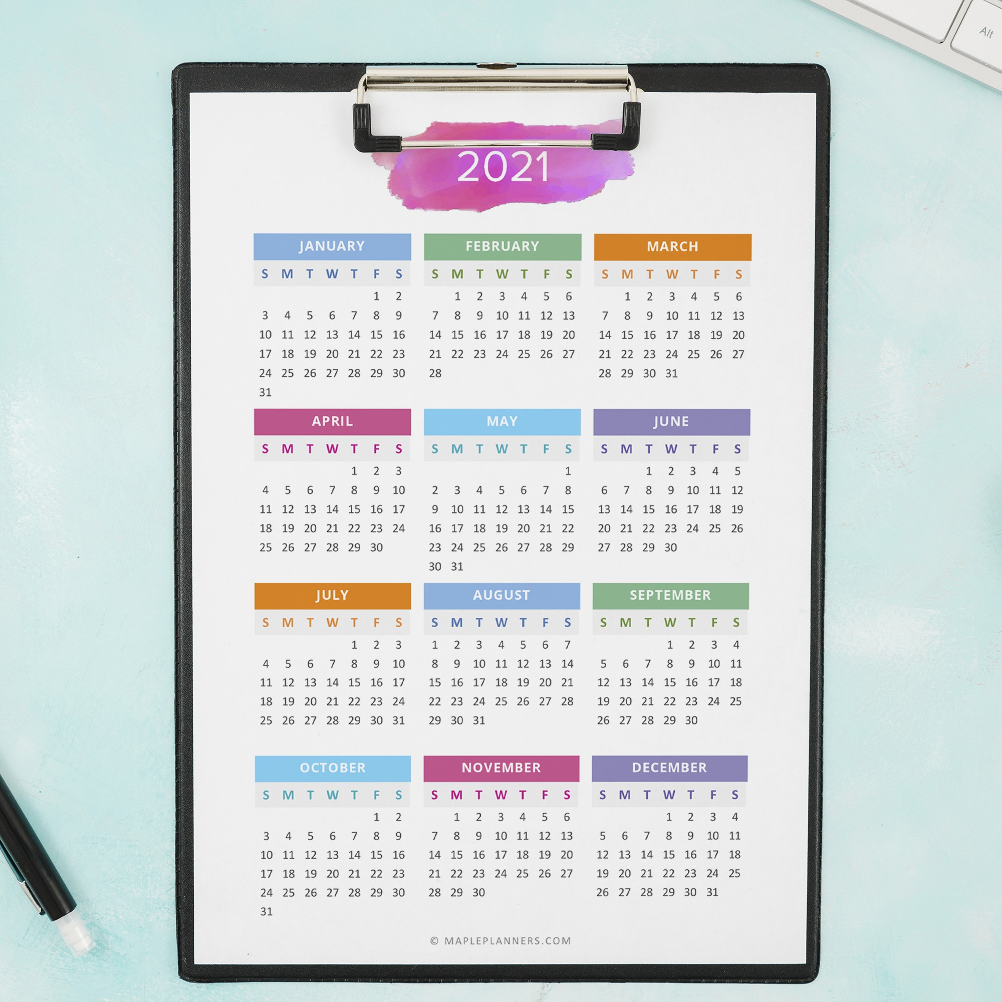 2021 - 2022 Year at a Glance in A5 Size | Yearly Calendar ...