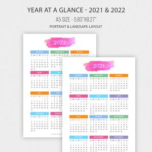 2021 – 2022 Year at a Glance in A5 Size