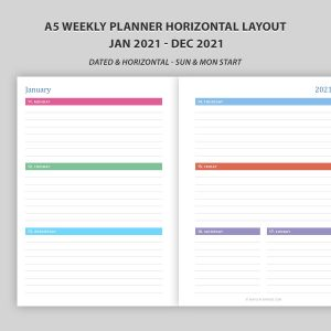 A5 Weekly Planner 2021 Horizontal Layout