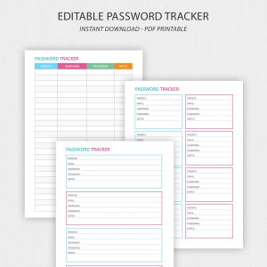 A5 Password Tracker Printable – Editable