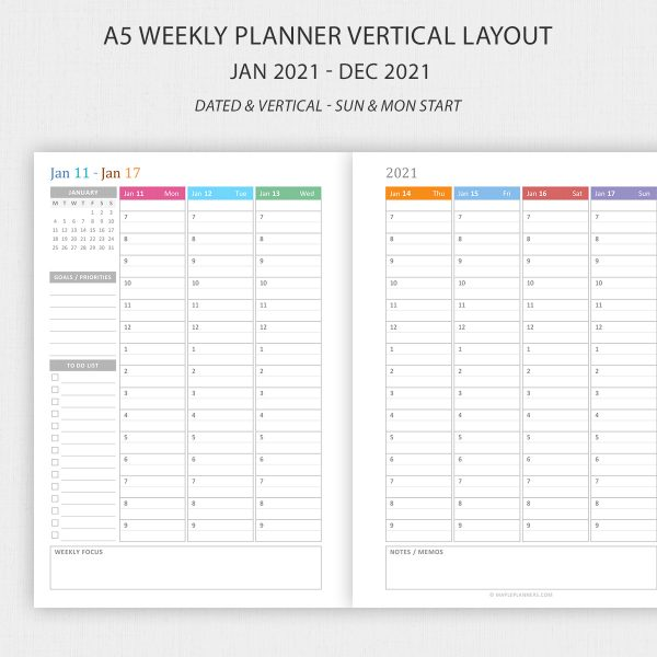 A5 weekly planner 2021 printable vertical layout