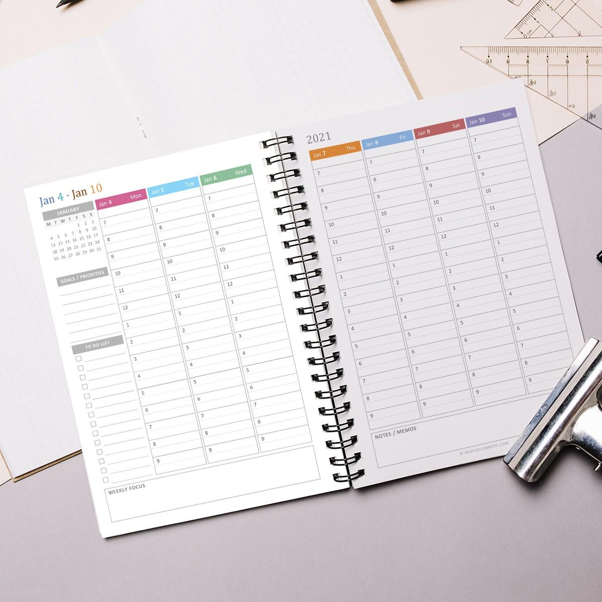 Printable A5 Hourly Weekly Planner 2021   Vertical Weekly ...
