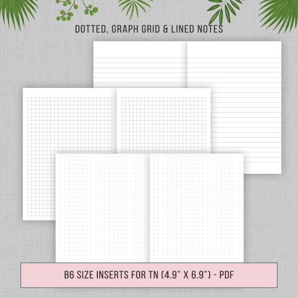 TN B6 Dotted Graph Lined Grid Paper Printable Inserts