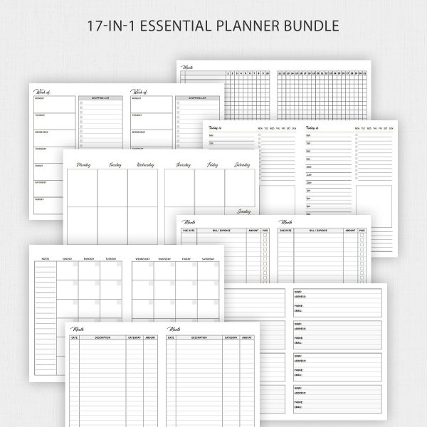 B6 TN Inserts Bundle Printable