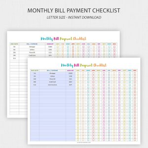 Printable Bill Pay Checklist – Editable