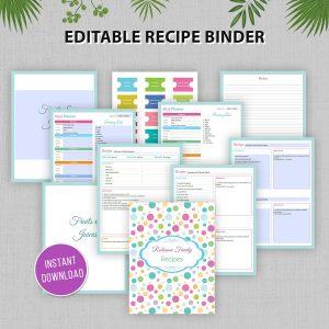 Editable Printable Recipe Binder
