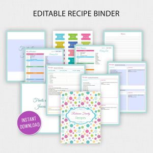 Editable Printable Recipe Binder