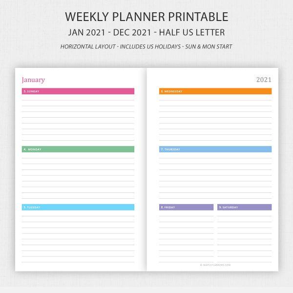 Half Letter Weekly Planner 2021 Printable Horizontal Layout