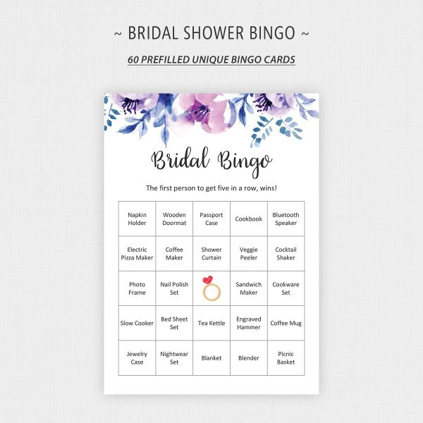 lavender bridal shower bingo printable