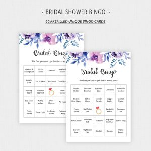 Lavender Bridal Shower Bingo