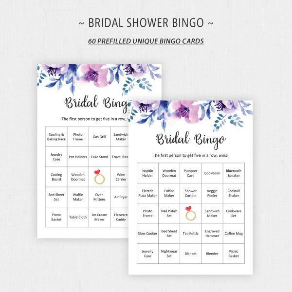 Lavender Bridal Shower Bingo