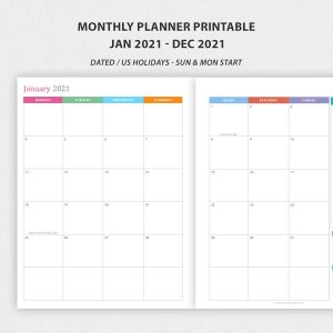 Printable 2021 Monthly Planner