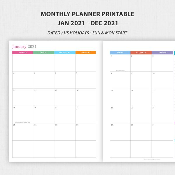 Dated Monthly Planner 2021 Printable