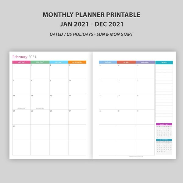 Monthly Planner 2021 Printable