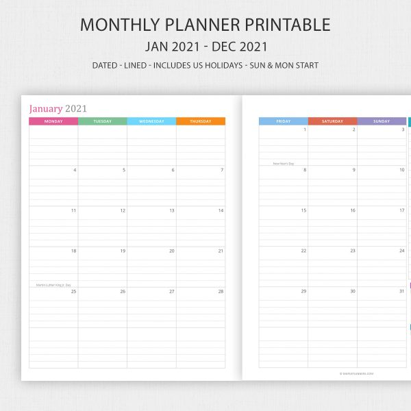 Printable 2021 Monthly Planner Inserts