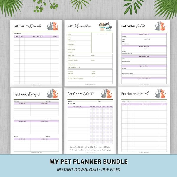 Organize your pet's records with this pet planner