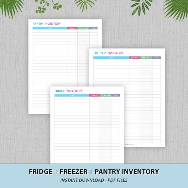 Frige Freezer Pantry Inventory Printable