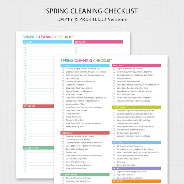 Spring Cleaning Checklist - Prefilled and Empty Versions