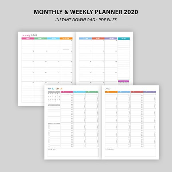 Printable Monthly and Weekly Planner