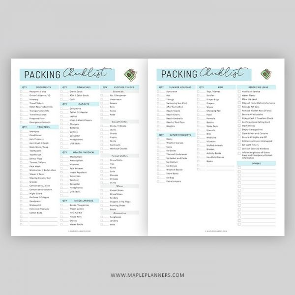 Printable Vacation Planner