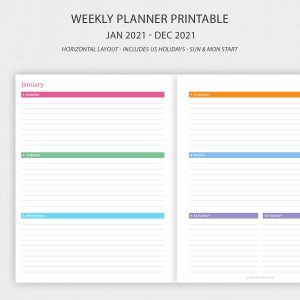 Printable Weekly Planner 2021 Horizontal Layout