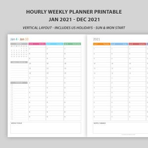 Hourly Weekly Planner 2021 Vertical Layout