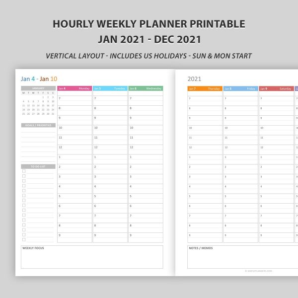 Hourly Weekly Planner 2021 Printable