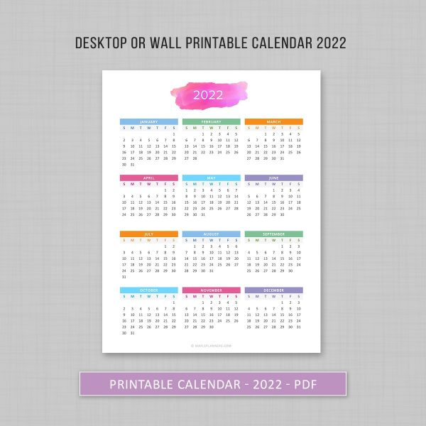 Year at a Glance 2022 Printable