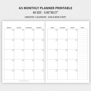 TN A5 Travelers Notebook Inserts; Undated Monthly Planner
