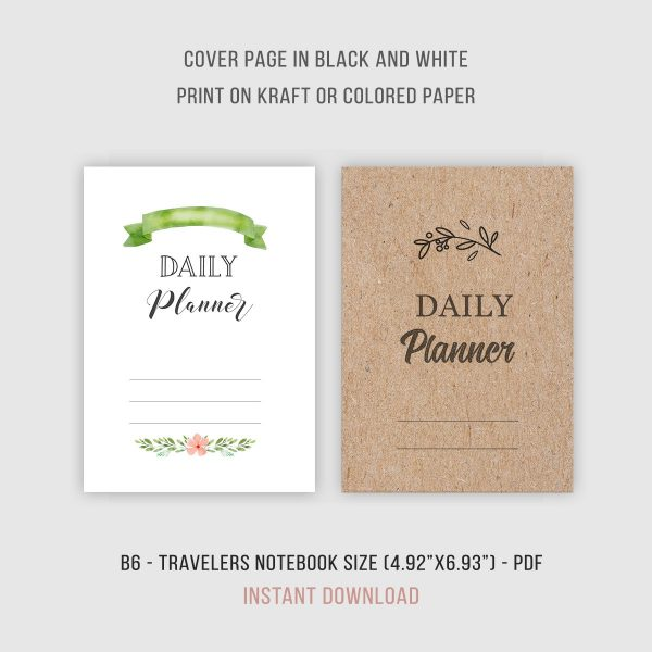B6 TN Inserts Daily Planner Cover Pages Printable