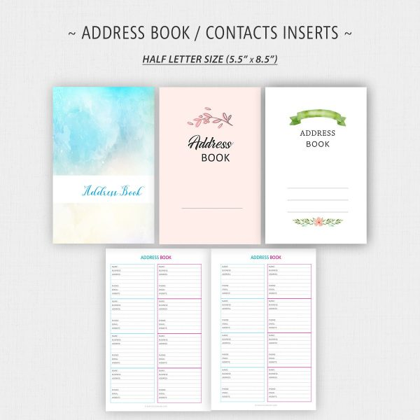 Address Book Printable Inserts Half Letter
