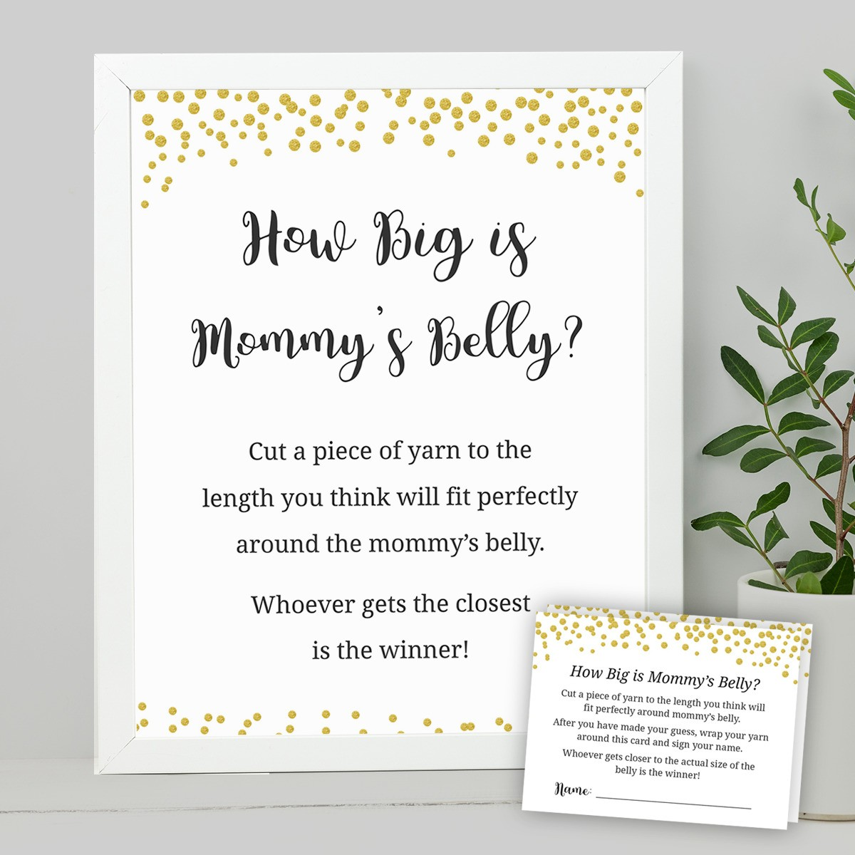 How Big Is Mommy S Belly Signs And Cards Baby Shower Ideas