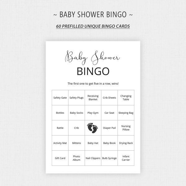 Minimalist Baby Bingo Game Printable