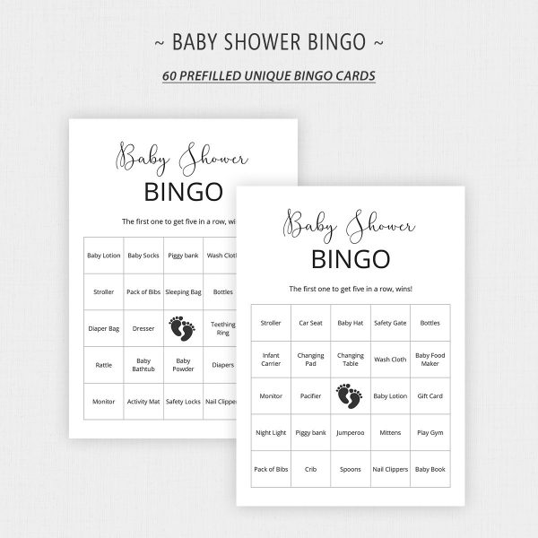 Printable Minimalist Baby Shower Bingo