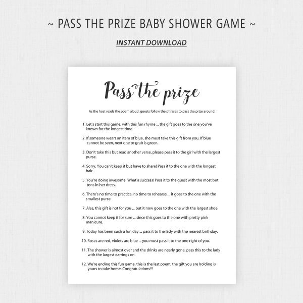 Printable Pass the Prize Baby Shower Game