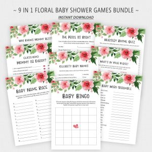 Pink Floral Baby Shower Games Bundle