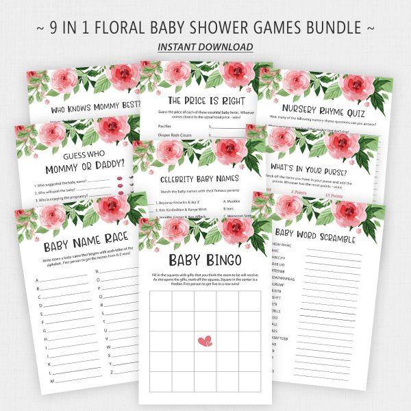 Pink Floral Baby Shower Games Bundle