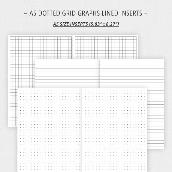 A5 Size Dotted Graph Grid and Lined Paper Printable