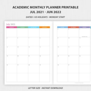 Academic Monthly Planner Printable July 2021 – June 2022