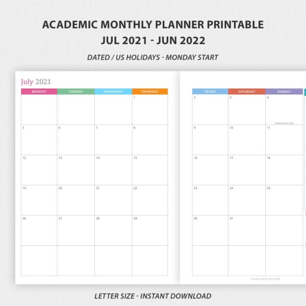 Academic Monthly Planner 2021 - 2022 Printable